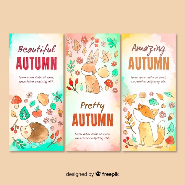 Watercolor autumn card template collection Free Vector