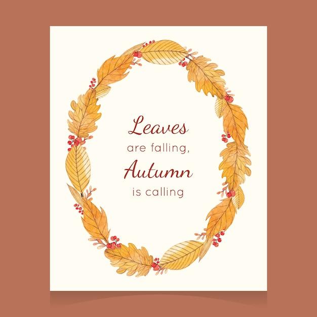 Watercolor autumn card with a wreath Premium Vector