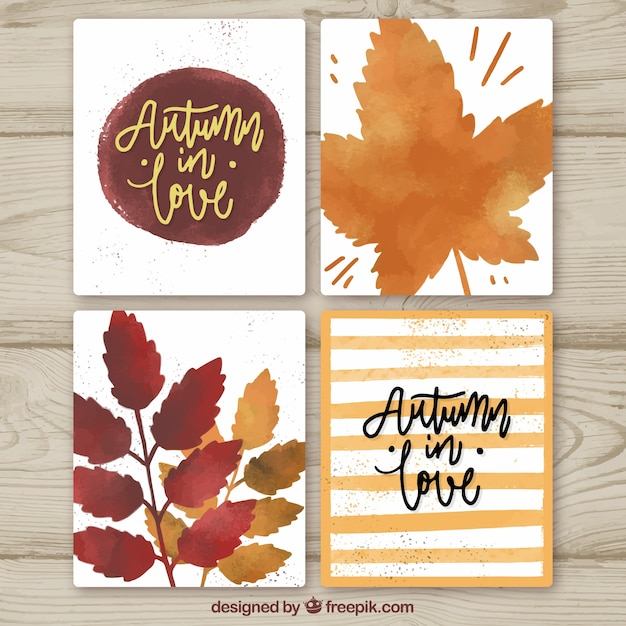 Watercolor autumn cards with modern style