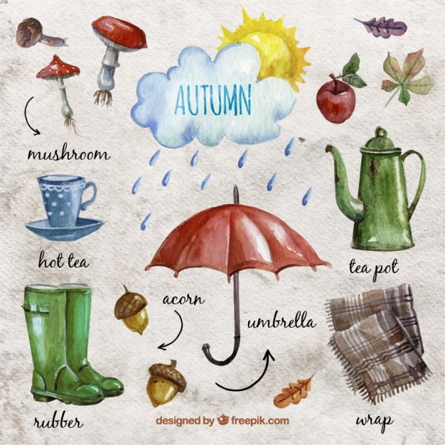 watercolor autumn essentials vector free download