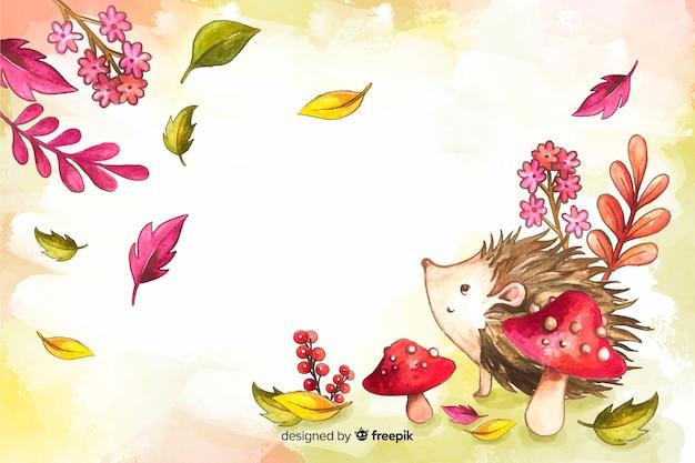 Акварель осенние цветы и листья фон Бесплатные векторы