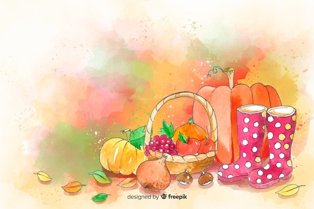 Watercolor autumn and food and leaves background Free Vector