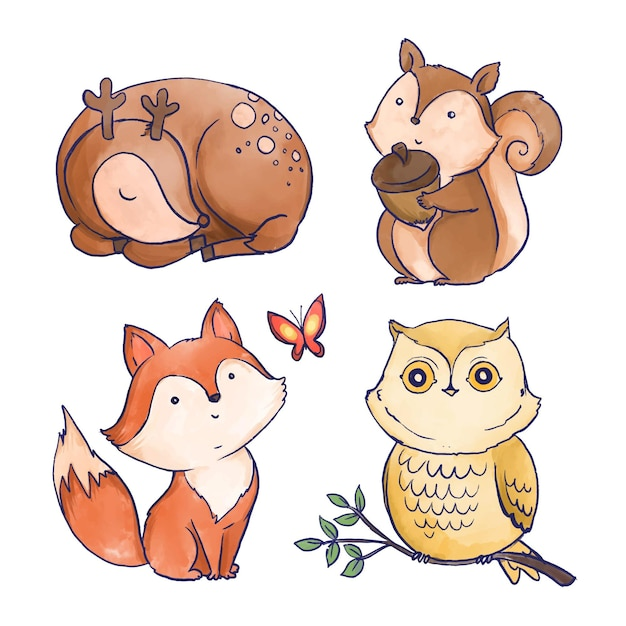 Watercolor autumn forest animals Free Vector