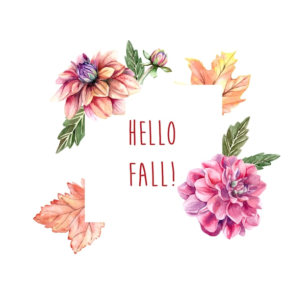 Watercolor autumn frame with dahlia flowers Premium Vector