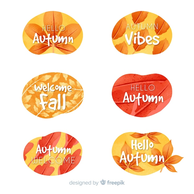 Watercolor autumn label collection Free Vector
