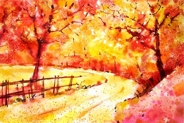 水彩秋の風景の背景 無料ベクター