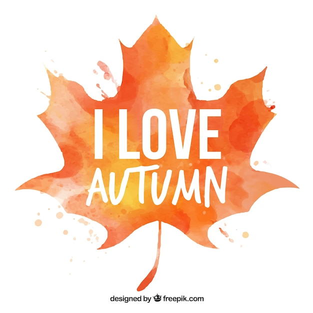 Watercolor autumn leaf background