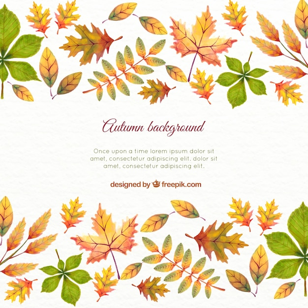 watercolor autumn leaves background and template vector free download