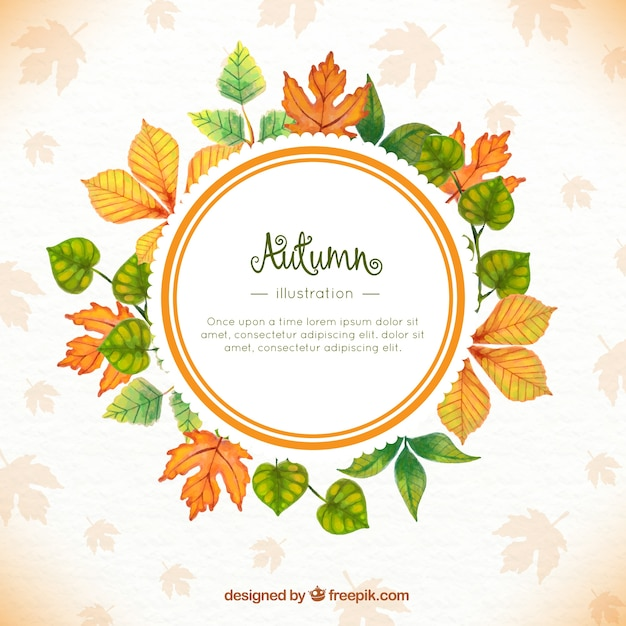watercolor autumn leaves background with template vector free download
