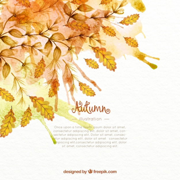 Watercolor Autumn Leaves Background Free Vector