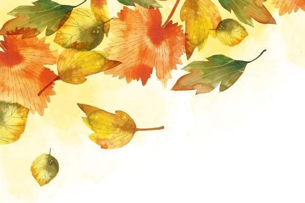 水彩紅葉背景 無料ベクター