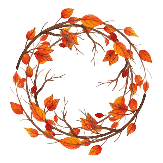 Watercolor Autumn Leaves Frame Free Vector