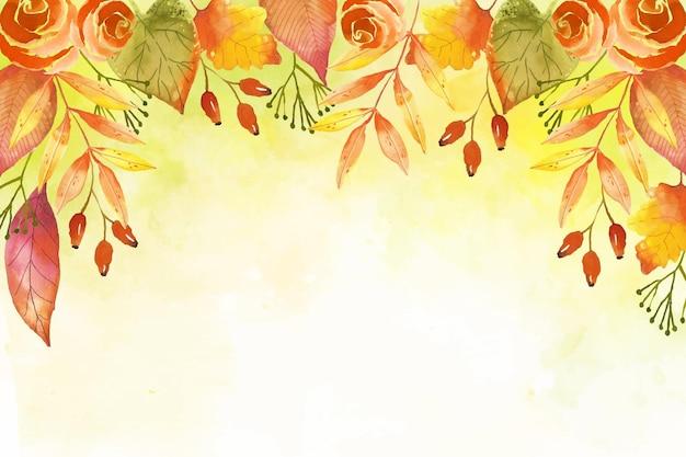 水彩の紅葉の壁紙 無料ベクター