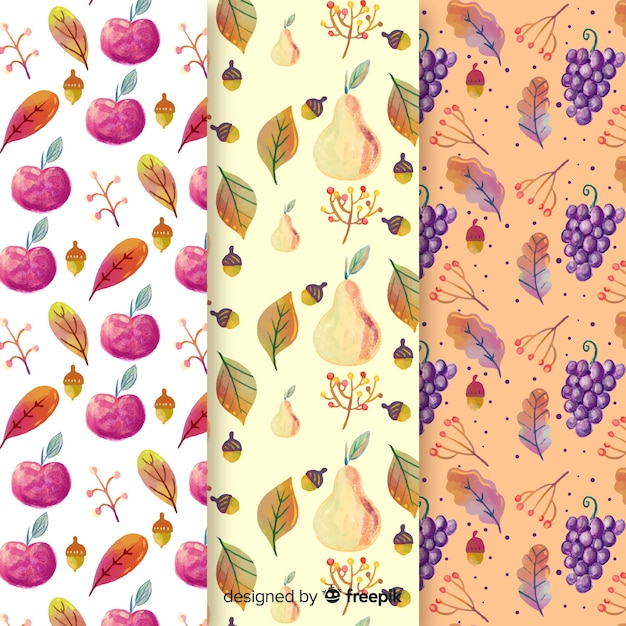 Watercolor autumn pattern collection with leaves Free Vector