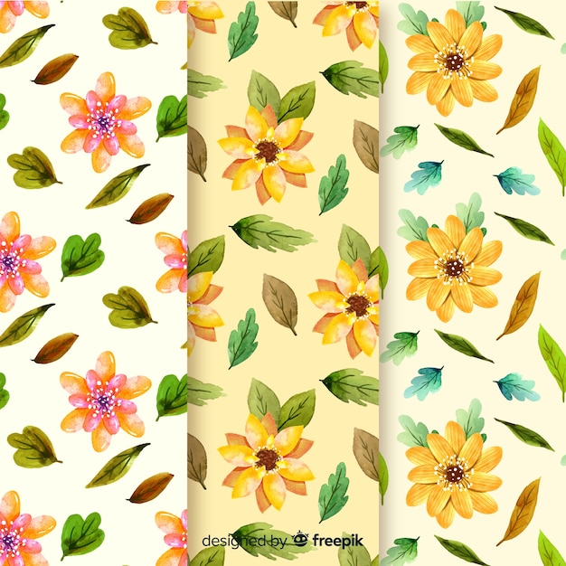 Watercolor autumn pattern collection Free Vector