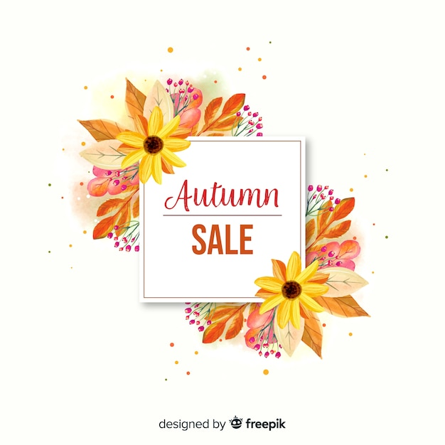 Watercolor autumn sale banner Free Vector