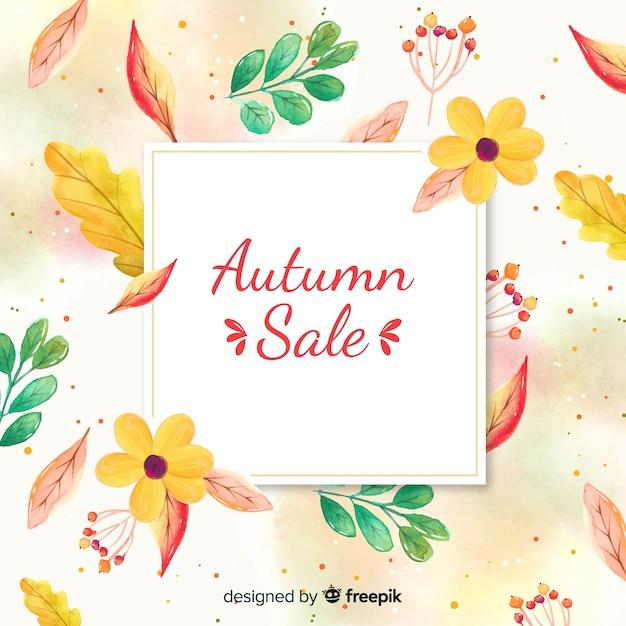 Watercolor autumn sale banner Free Vector