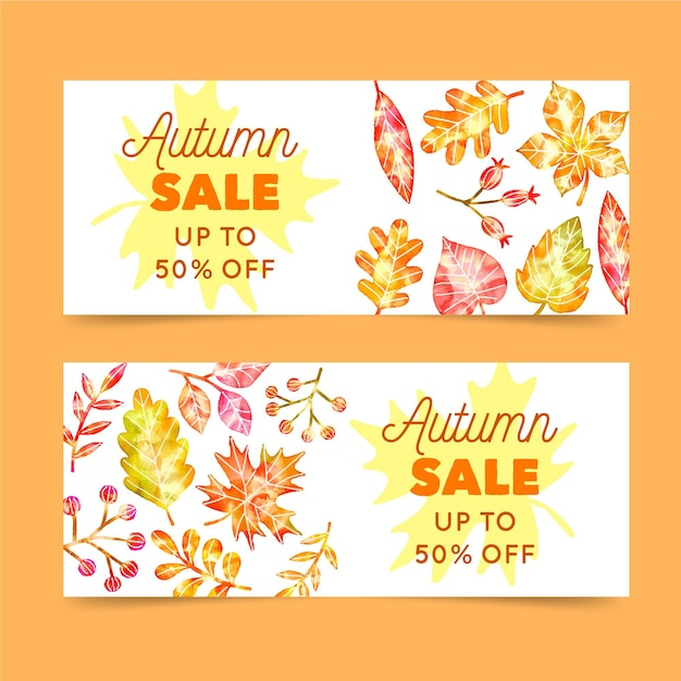 Watercolor autumn sale banners template Free Vector