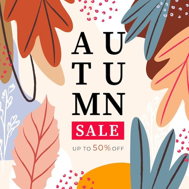 Watercolor autumn sale promotion Free Vector