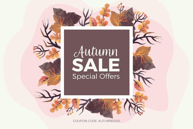 Watercolor autumn sale Free Vector