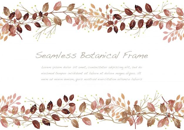 Акварель осень бесшовные ботанические кадр, изолированных на белом фоне. Premium векторы