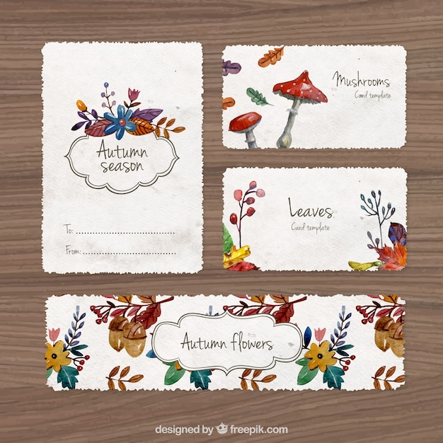 watercolor autumn stationery vector free download