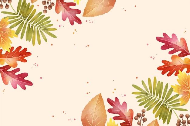 잎 배경으로 수채화가 무료 벡터