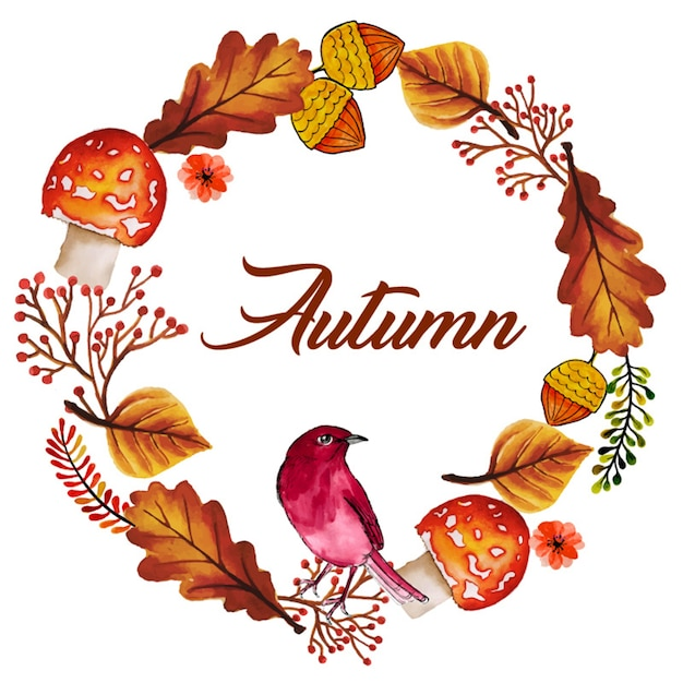 Watercolor autumn wreath | Free Vector