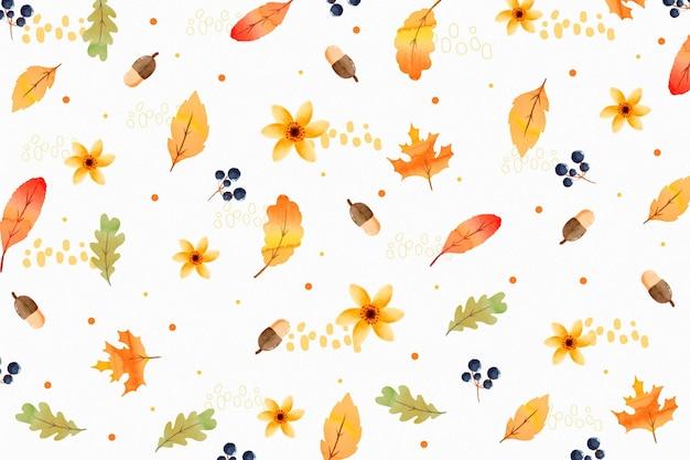 Pattern di sfondo autunnale dell'acquerello Vettore gratuito