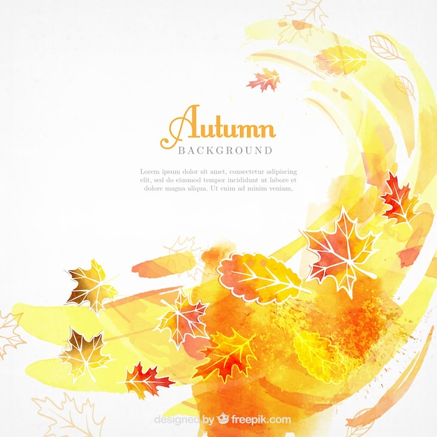 Watercolor autumnal background with abstract style Free Vector