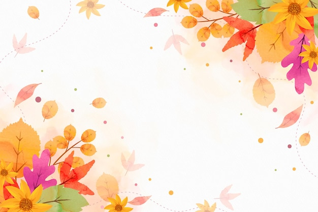 Watercolor autumnal background with empty space Free Vector