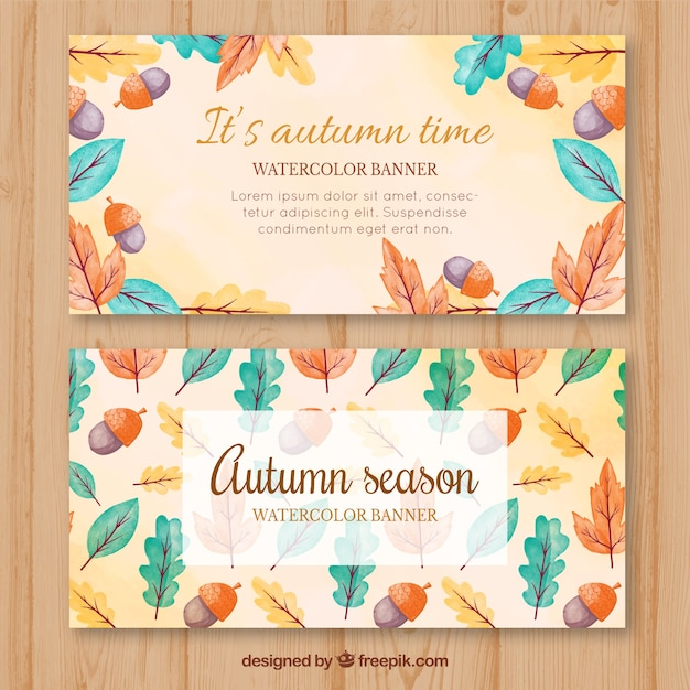 Watercolor autumnal banners with colorful leaves and acorns