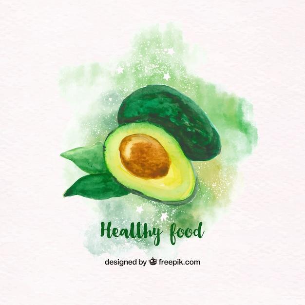 Watercolor avocado background Free Vector