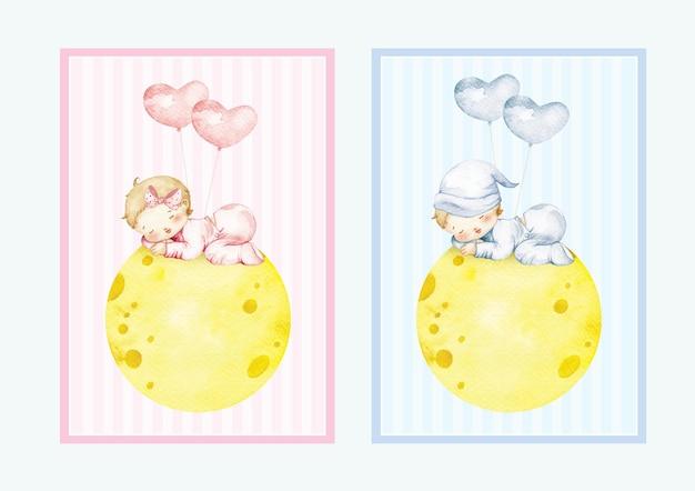 水彩画の男の子と女の赤ちゃんは無料の風船で月に眠る Premiumベクター