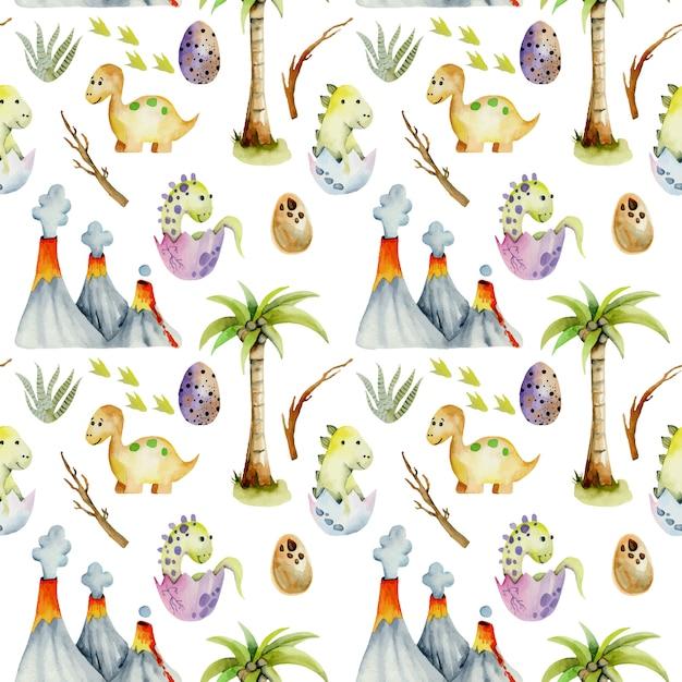 Watercolor baby dinosaurs seamless pattern Premium Vector