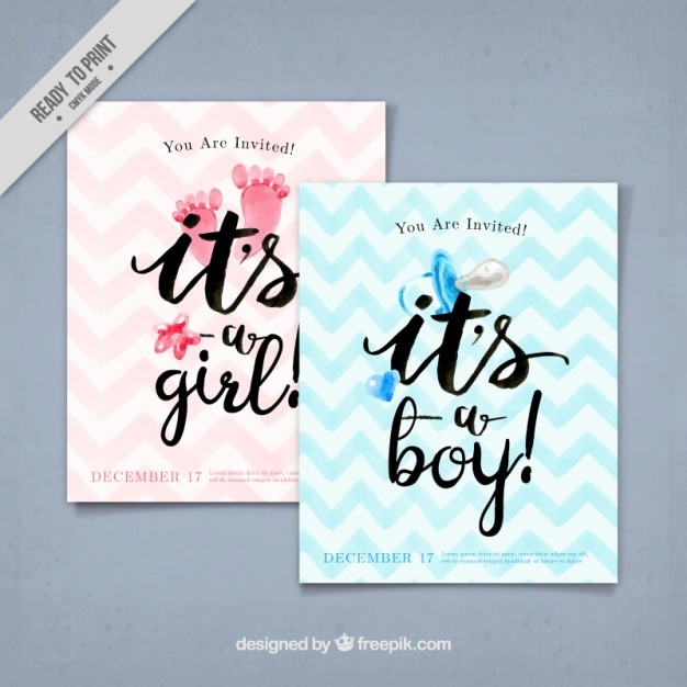 Watercolor baby greeting cards Free Vector