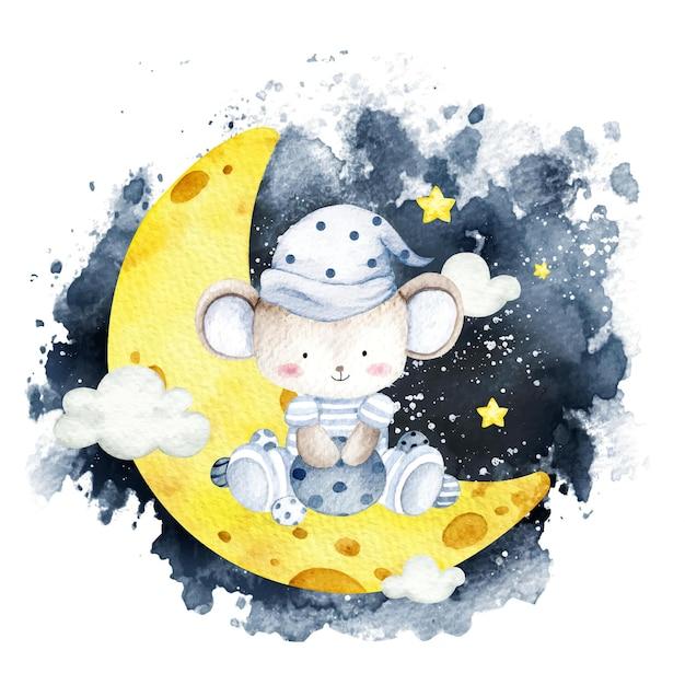Акварель мышонок сидит на луне Premium векторы
