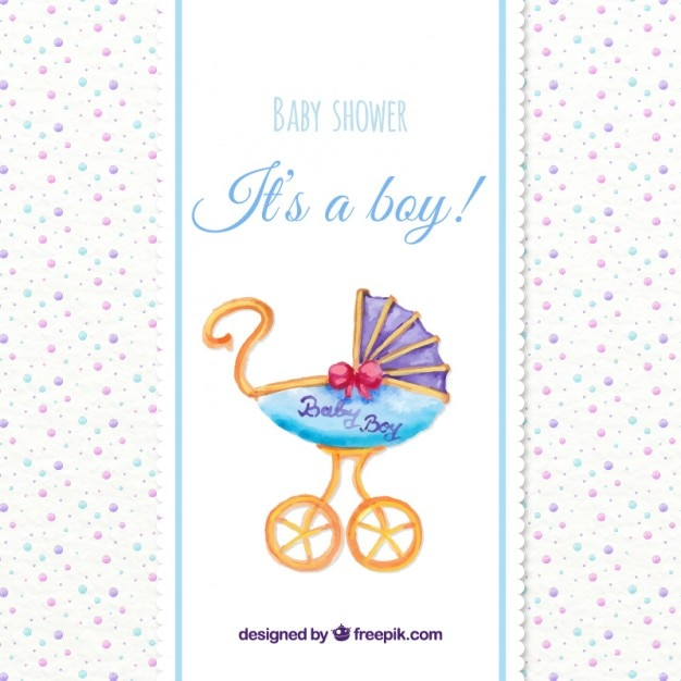 8b14d59c8 Watercolor baby shower card with a vintage buggy Vector