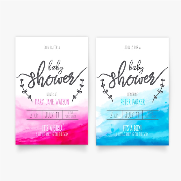 Acquerello baby shower template Vettore gratuito