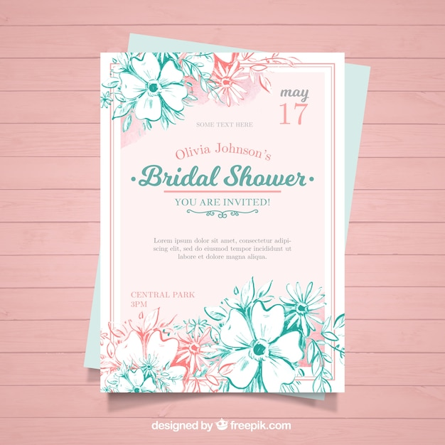 watercolor bachelorette invitation with pink and blue flowers vector
