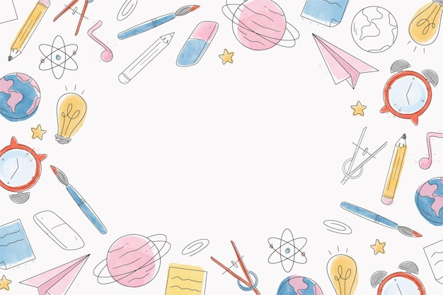 Watercolor back to school background with white space Free Vector