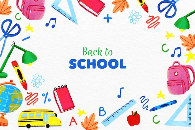 Watercolor back to school background Free Vector