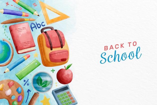 Acquerello torna a scuola sfondo Vettore gratuito