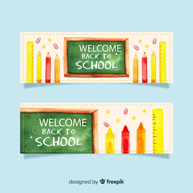 Watercolor back to school banners Free Vector