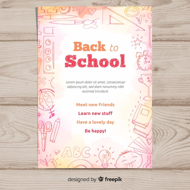 Watercolor back to school card template Free Vector