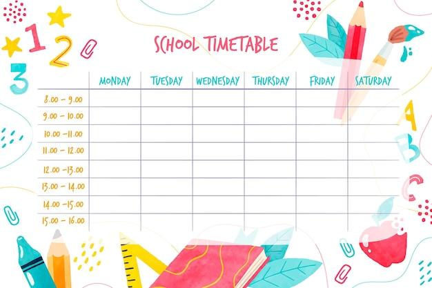 Акварель обратно в школьное расписание Бесплатные векторы