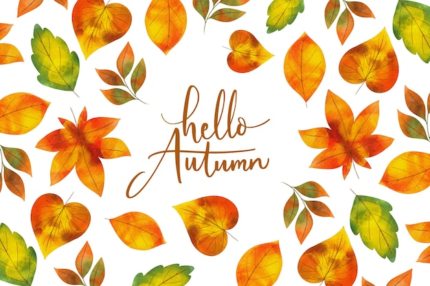 Watercolor background autumn leaves Premium Vector