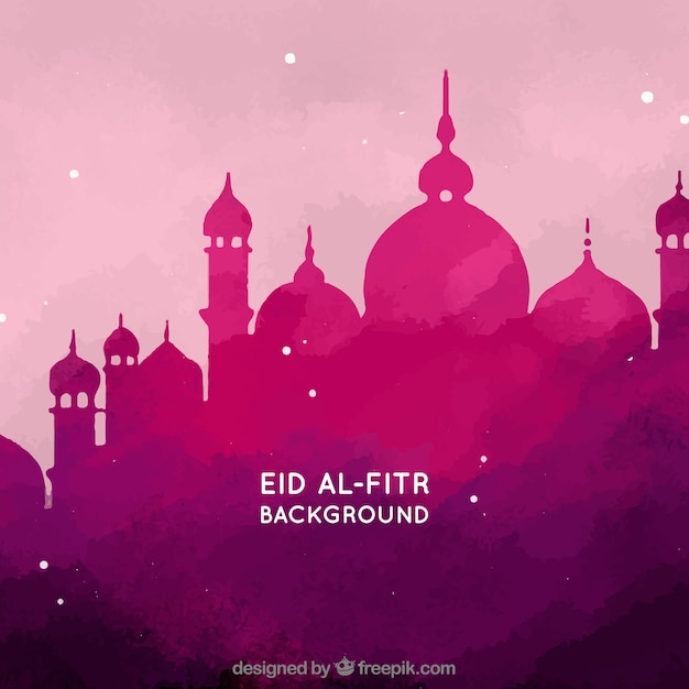 Watercolor Background Of Eid Al Fitr With Mosque