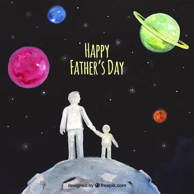 Watercolor background of the father with his son in space Free Vector
