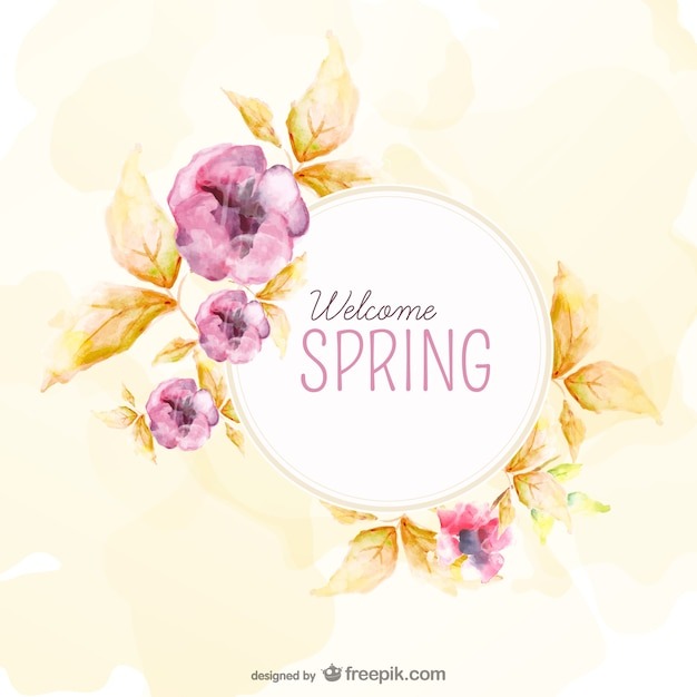 Watercolor background for spring vector free download for Spring flowers watercolor
